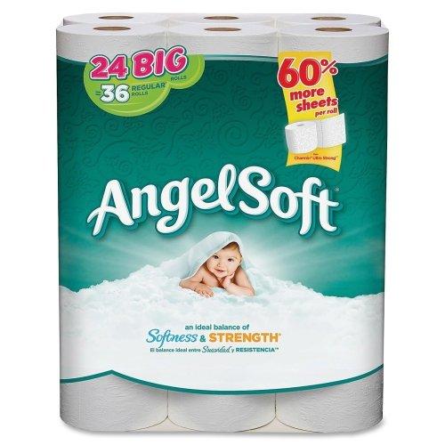 Angel Soft PS 24 Roll Bathroom Tissue - 2 Ply - 195 Sheets/R