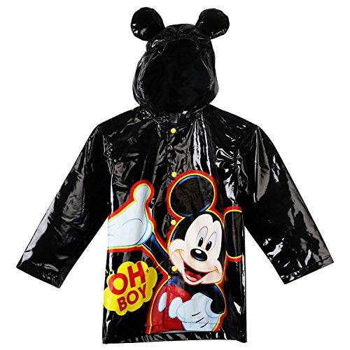 Disney Little Boys Mickey Mouse Waterproof Outwear Hooded Rain Coat - Toddler