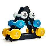Marcy Unisex's Tone Vinyl Dumbbell Set with Triangle Stand, Multicoloured, 12kg