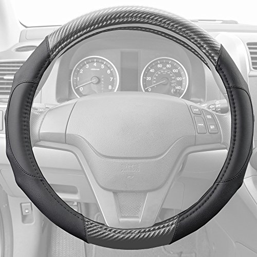 BDK Motor Trend GripDrive Carbon Fiber Series - Steering Wheel Cover - Synthetic Leather Comfort Grip Handles (Gray)