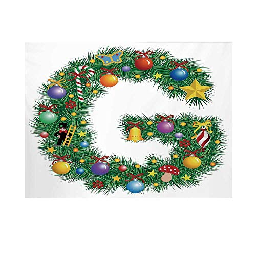 703 Latex - Letter G Photography Background,Christmas Tree Style Letter G with Capital Style Vibrant Celebration Items Holiday Backdrop for Studio,10x6ft