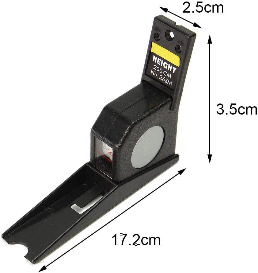 Ruban /à mesurer 2 m Eco-Firendly Accueil pr/écis Outil de croissance fix/é au mur R/ègle flexible Altim/ètre Portable Durable R/étractable Hauteur M/ètre Pour Corps Noir