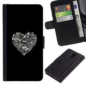 Billetera de Cuero Caso Titular de la tarjeta Carcasa Funda para Samsung Galaxy Note 4 SM-N910 / heart glitter mirror black heart bling / STRONG