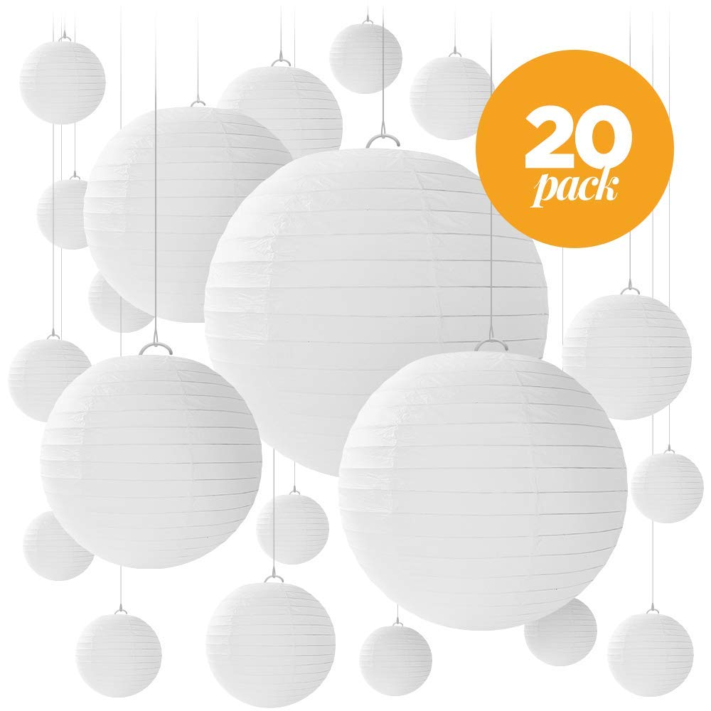 20 White Paper Lanterns for Weddings, Birthdays, Parties and Events - Assorted Round Sizes of 6'', 8'', 10'' and 12'' - By Avoseta.