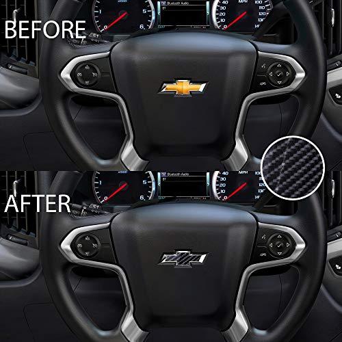 Bogar Tech Designs - Pre Cut Steering Wheel Emblem Overlay Vinyl Decal Sticker Compatible with Chevy Silverado 2014-2019, 6D Glossy Carbon Fiber Black