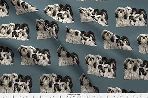 Shih Tzu Fleece (Tibet Fabric Shiih Tzu Grouping Fabric by Dogdaze Printed on Fleece Fabric by the Yard by Spoonflower)
