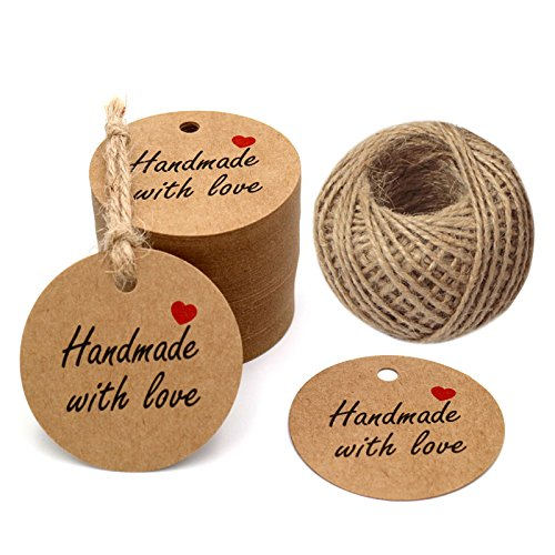 Round Twine (Gift Tags Handmade with love 1.97'' Round Tags 100 PCS Brown Kraft Hang Tags with 100 Feet Natural Jute Twine Perfect for DIY&Craft, Wedding Party Favor and Birthday Party)