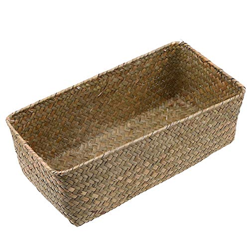 Dreamedge Handmade Wicker Baskets Rattan Cosmetic Box Decorative Case Woven Flower Pot Straw Storage Basket Plant Pot Kitchen Basket,Nature Color,M -