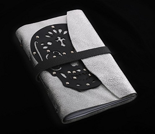 Sugar skull journal with silver leather with lined or unlined pages by Skrocki Designs: fine leather and artisan jewelry