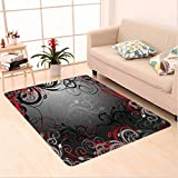 Nalahome Custom carpet d Black Mystic Magical Forest Inspired Floral Swirls Leaves Charcoal Grey Light Grey and Scarlet area rugs for Living Dining Room Bedroom Hallway Office Carpet (2′ X 4′)