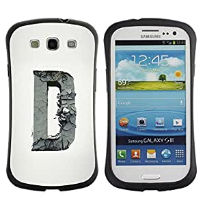 "Pulsar iFace Series Tpu silicona Carcasa Funda Case para SAMSUNG Galaxy S3 III / i9300 / i747 , D Carta Escultura inicial Profundo gris"""