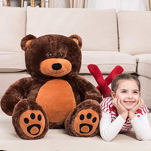 WOWMAX 3 Foot Giant Teddy Bear Daney Cuddly Stuffed Plush Animals Teddy Bear Toy Doll for Birthday Christmas Dark Brown 36 Inches