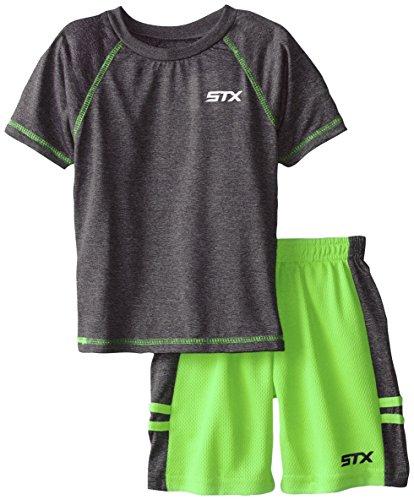 STX Boy's 2-7 Raglan T-Shirt and Athletic Short, Neon Lime, 7