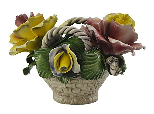 Capodimonte 9x6 Pink Yellow and Green Flower Rose Decorative Basket Authentic Handmade in Italy
