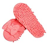 LEMNUY Mop Slippers Genie Washable - Chenille Microfiber for Women Shoes Cover Pink Colors - Office Home Indoor Hardwood Ceramic Floor Polishing Hair Multi-Surface Clean Tool - Size 6-9 (1 Pair)