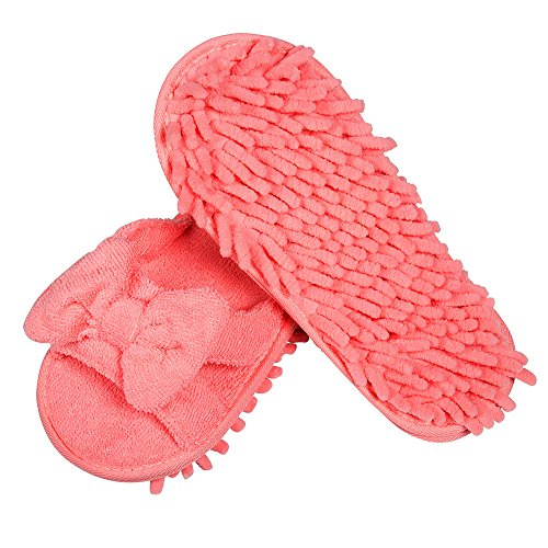 LEMNUY Womens Mop Slippers Washable, Microfiber Shoes Cover for Women, Office Home Indoor Hardwood Ceramic Floor Multi-Surface Polishing Clean Hair and Dusting, Pink Colors Size 6-9 (1 Pair)