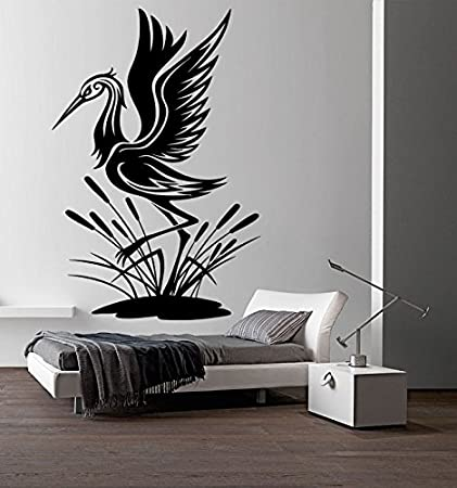 Heron Wall Vinyl Decal Lake Lough Bird Animal Sticker Art Mural Home Removable Decor (2hero