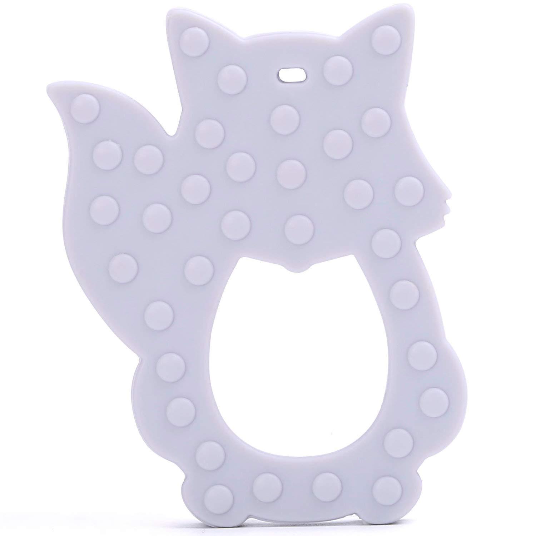 Zahnungshilfe aus Silikon BPA Frei Weich Lindert Schmerzen beim Zahnen Blau PREMYO Fuchs Bei/ßring f/ür Babys K/ühlend
