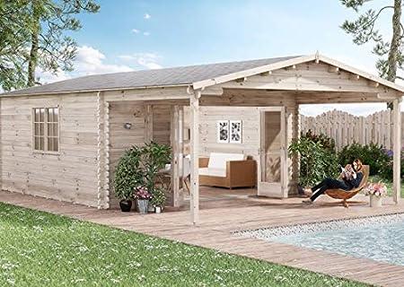 Alpholz NILS-44 - Caseta de jardín (4 piezas) Puerta plegable – Cabaña de jardín de madera maciza con ventana y acristalamiento aislante – Caseta de jardín con suelo, naturaleza: Amazon.es: Jardín