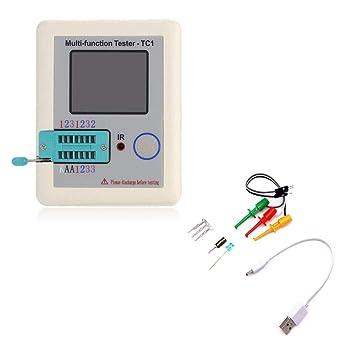 Pantalla colorida Probador de transistores TFT multifuncional Contraluz Didoe Triodo Capacitancia Resistor Detector Inductancia MOSFET NPN PNP Triac MOS ...