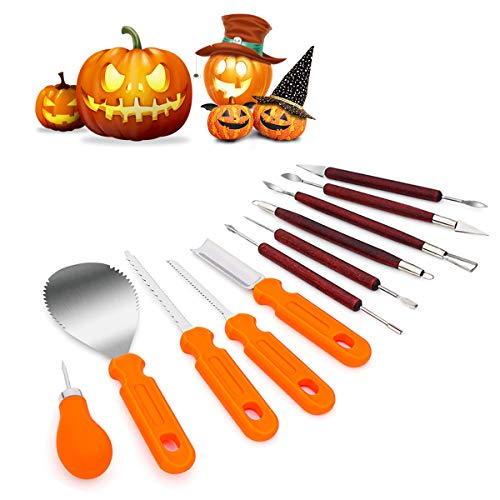 Halloween Pumpkin Carving With A Drill (Pumpkin Carving Kit,11 Pieces Durable Stainless Steel Professional Pumpkin Carving Tools Set - Cuts, Scoops,Scrapers,Saws,Loops,Knives for Halloween Decoration Easily Sculpting Jack-O-Lanter)