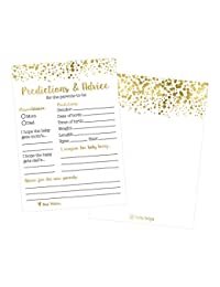 50 Gold Polka Dot Advice and Prediction Cards for Baby Shower Game, New Mom & Dad Card or Mommy & Daddy To Be, Girl or Boy Babies New Parent Message Advice Book, Fun Gender Neutral Shower Party Favors BOBEBE Online Baby Store From New York to Miami and Los Angeles