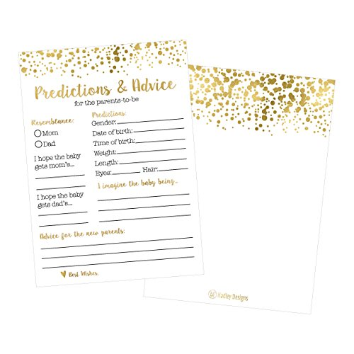 50 Gold Polka Dot Advice and Prediction Cards for Baby Shower Game, New Mom & Dad Card or Mommy & Daddy To Be, Girl or Boy Babies New Parent Message Advice Book, Fun Gender Neutral Shower Party Favors -