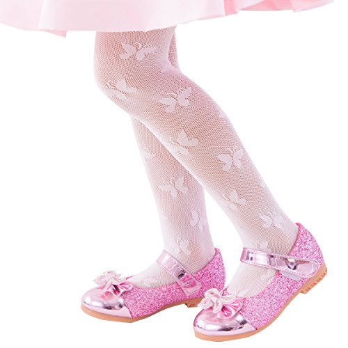 FUN fun lace fishnet tights(Butterfly pattern) Kids Girls; Sakura color - Butterfly Lace Stockings
