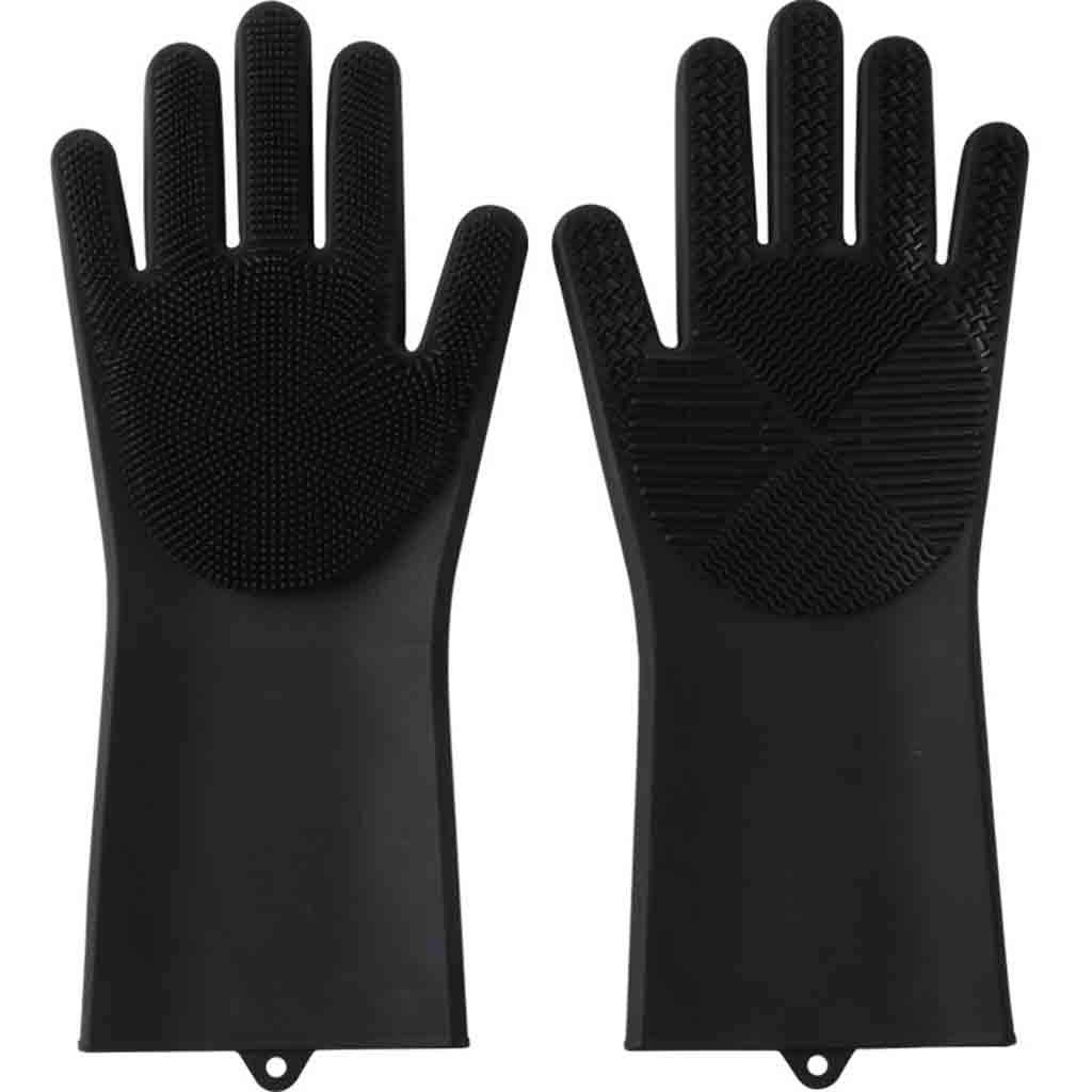 BCDshop Magic Reusable Silicone Dishwashing Gloves Cleaning Brush Scrubber Gloves Heat Resistant,Gardening Kitchen Bathroom Waterproof Washing Mitten (Black) by BCDshop_Glove