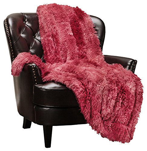 Chanasya Faux Fur Sherpa Throw Blanket | Color Variation Marble Print | Super Soft Shaggy Fuzzy Fluffy Elegant Cozy Plush Microfiber Maroon Red Grey Blanket for Couch Bed Living Room - (50
