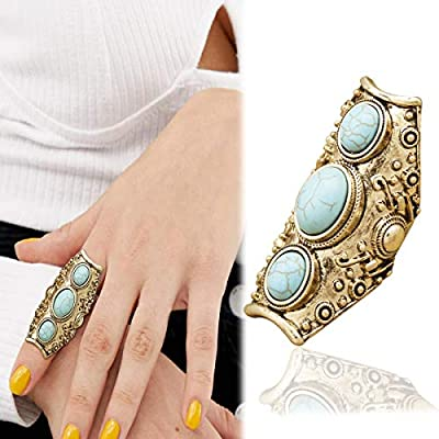 RechicGu Vintage Gold Southwest Armor Knuckle Dome Faux Turquoise Full Finger Ring Punk Medievel Biker