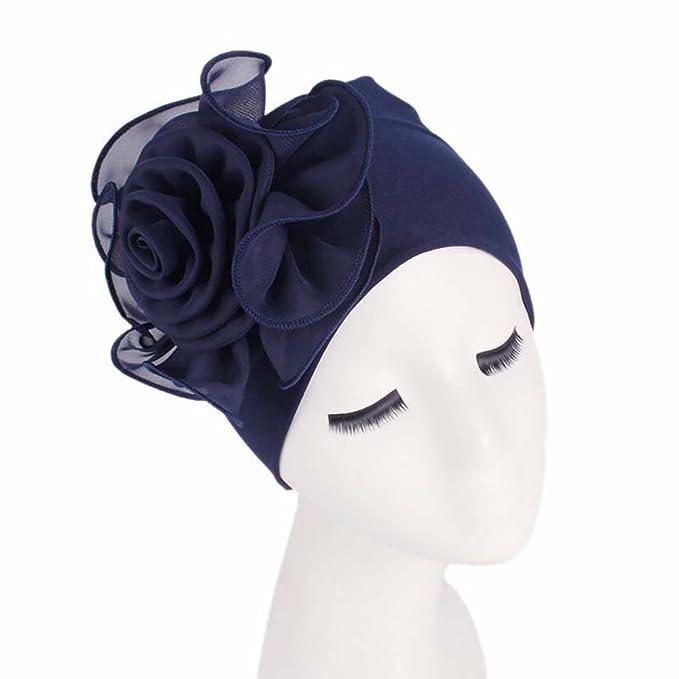 ... Grande Estilo Retro Elegante Turbante Para Cabeza De Mujer Para Boda Fiesta Cáncer Quimioterapia Chemo Oncológico Noche Pèrdida de Pelo (Azul Oscuro, ...