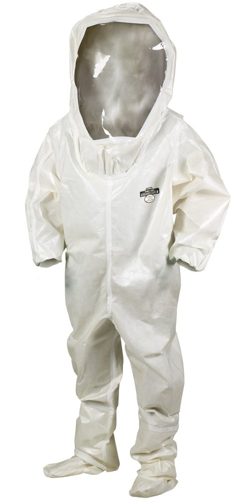 Lakeland ChemMax 2 TES Taped Seam Level B Encapsulated Suit with Back Entry, Disposable, Elastic Cuff, X-Large, White (Case of 3)
