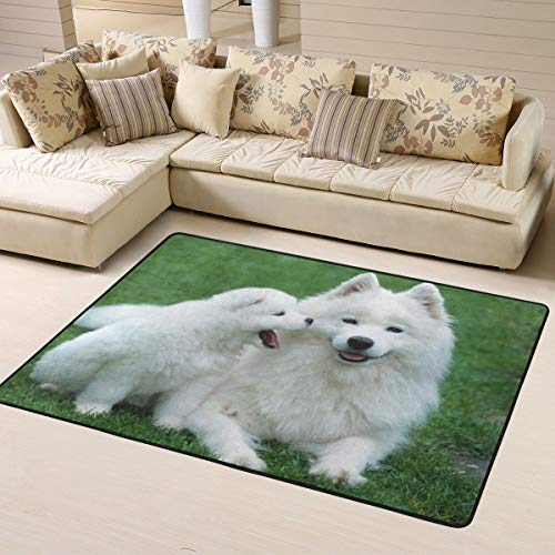 (Soft Area Rugs for Bedroom Kids Room Children Playroom Non-Slip Living Room Carpets Nursery Mat Home Decor 63 x 48 inches (White Samoyed Green Grass))