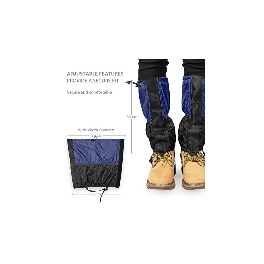Terra Hiker Research Waterproof Gaiters Breathable Snow Cover with Fleece Lining for Kids