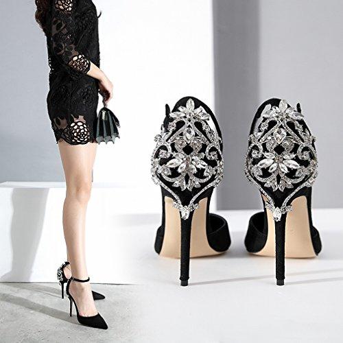Zapatos de Tacón Alto Zapatos Punta Hebilla de Diamantes Sex Sandalias Delgadas UN