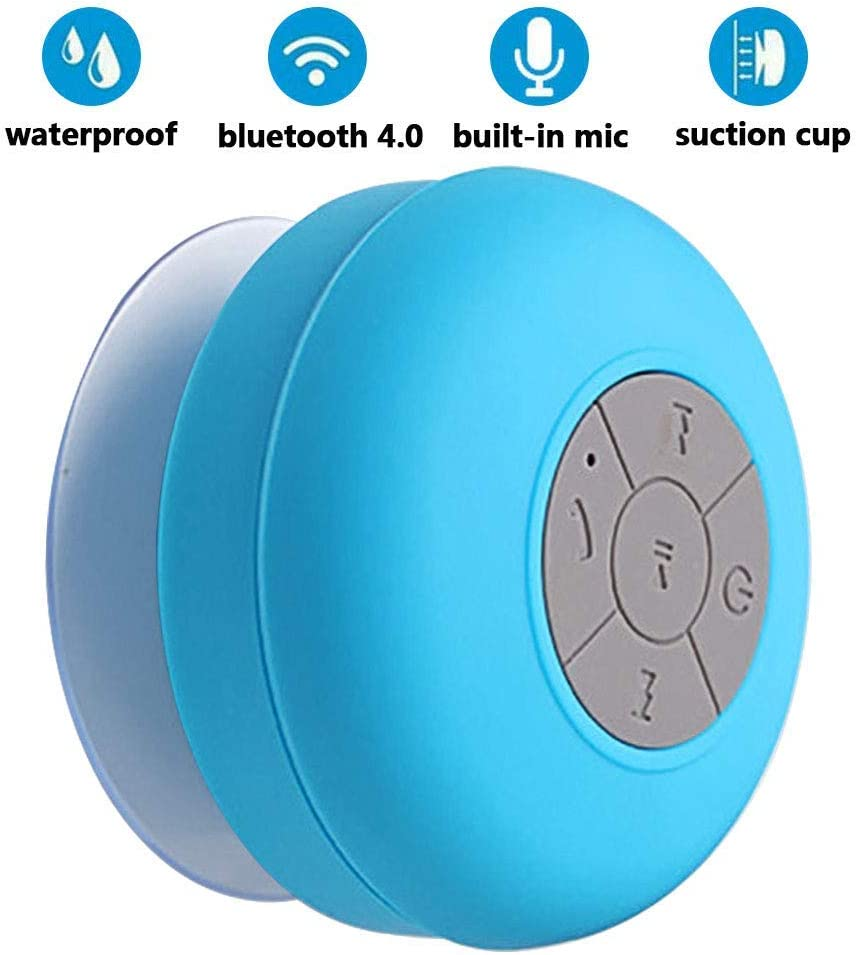 Handsfree Portable Speakerphone with Built-in Mic,4hrs of Playtime BONBON Bluetooth Shower Speaker Waterproof Wireless Bluetooth Devices,Dedicated Suction Cup for Showers,Bathroom,Pool Blue