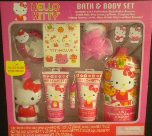 Hello Kitty Bath & Body Set Bubble Bath Wash Shampoo Tattoos Lip Gloss ++ - Hello Kitty Bath Set