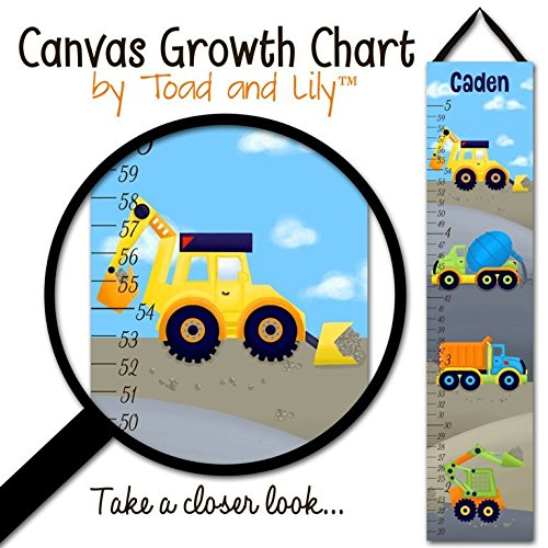 Canvas GROWTH CHART Bright Construction Trucks Boys Bedroom Baby Nursery Wall Art GC0083 by Toad and Lily