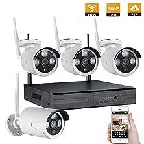 Mbangde 4CH 960P Wireless NVR CCTV Surveillance System + 4PCS 960P Outdoor Weatherproof HD IP Camera Security Kit