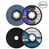Coceca 4.5'' x 7/8'' 10 Pack Premium Zirconia Flap Disc Grinding Wheel 40 Grit Type 29,and 10 Pack 4.5'' x .040''x 7/8'' Thin Cut Off Wheels Metal & Stainless Steel
