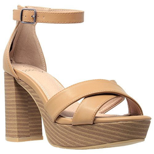 Womens Platform Sandals Adjustable Ankle Strap Retro Chunky Heel Shoes Tan SZ 6