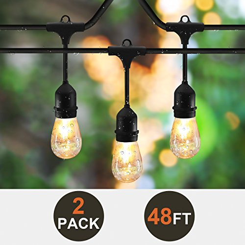 2-Pack SUNTHIN 48ft String Of Lights With 15 X E26 Sockets