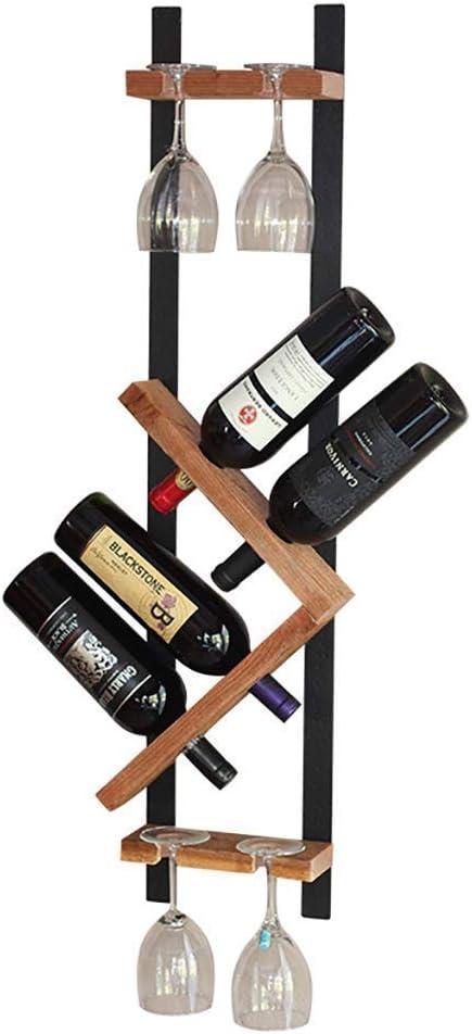 家庭用オーク樽 鍛造鉄ソリッドウッド壁掛けワインラック、シンプルな壁掛け斜め赤ワイン吊りワイングラス、レストランバーに適したホームワイナリーリビングルーム、25 * 12.5 * 95cm ウイスキー樽