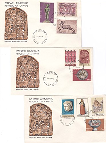 Cyprus Costumes (Cyprus Scott 351-354, 359-364 3M Cotton Napkin, 5M St. George, 10M Festive Costume, 15M Cup, 50M Scuplted Head, 75M Mosaic, 90M Silver Bowl, 250M Moutlan Mosaic, 500M Amphora Decoration and 1L God Sta)