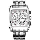 Megir Mens White Dial Chronograph Military 6 Hands Display Quartz Wrist Watch