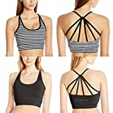 By Jessica Simpson 2 Pack - The Warm up Junior's Strappy High Impact Padded Sports Bra with Contrast Criss-Cross Piping (Small, 2 Bras - Black & Striped)