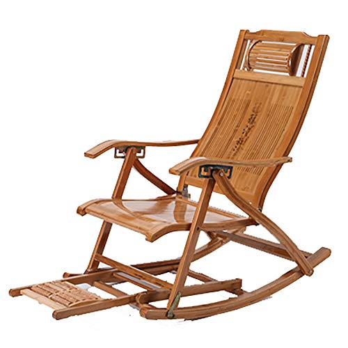 LJ&XJ Outdoor Folding Bamboo Chaise Lounge, Portable Adjustable with headrest Patio Chair, Scalable Footrest Rocking Chair Balcony-E