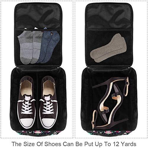MYSTAGE シューズバッグ 靴箱 シューズケース シューズ袋 旅行収納ポーチ 二層式 靴入れ 小物収納 収納ケース アウドドア 出張 旅行 スノーフレーク フクロウ クリスマス