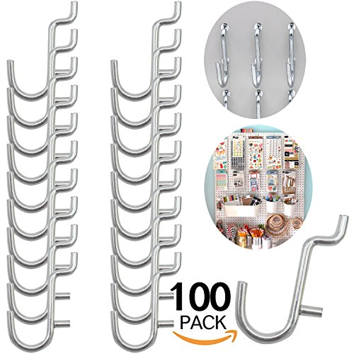 Calax Metal Pegboard Hook J Style for Peg Board Tool Organizer 100 pieces by Calax
